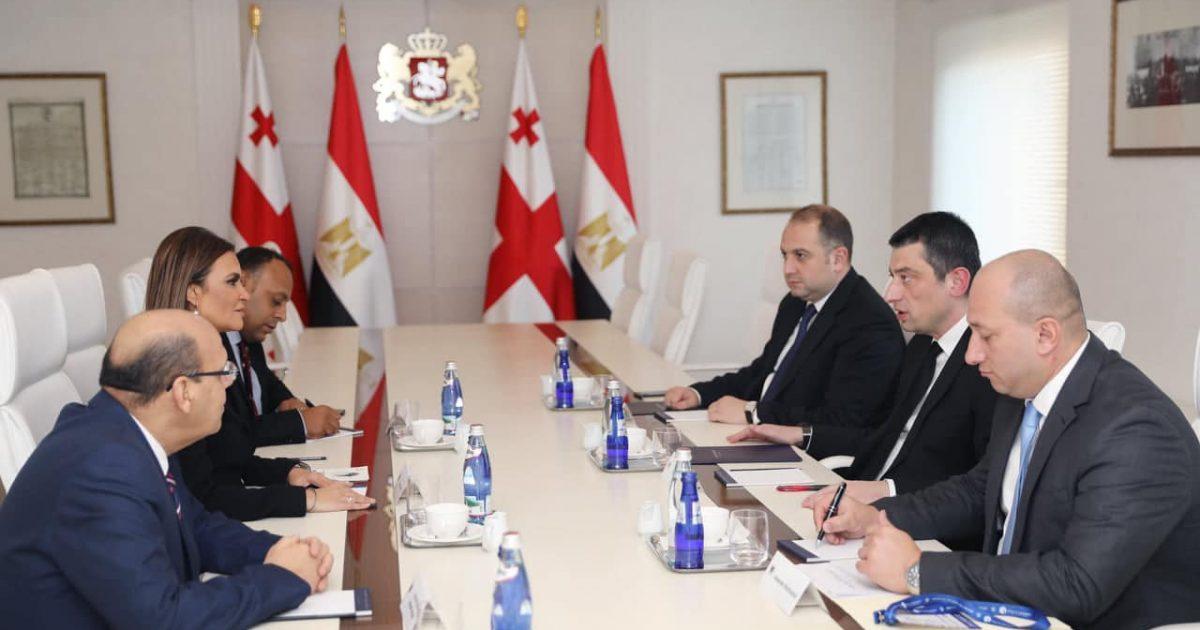 اجتماع بين وفد مصري برئاسة وزيرة الاستثمار المصرية برئيس وزراء جورجيا